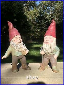 Vintage Cast Iron Garden Gnome Doorstop Yard Art Pair 13
