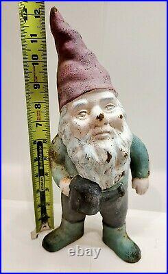 Vintage Cast Iron Garden Gnome With Watering Can, Heavy, Door Stop, Yard Art