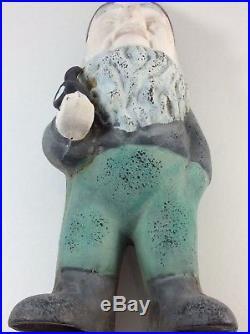 Vintage Cast Iron Garden Gnome Yard Art Statue Gnome Smoking Pipe Door Stop 13
