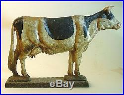 Vintage Cast Iron Holstein Dairy Cow Door Stop- Mid 1900's