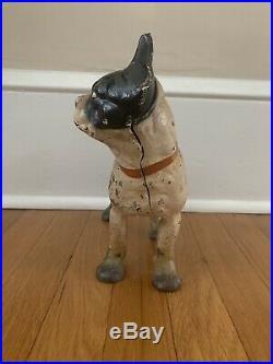 Vintage Cast Iron Hubley Boston Terrier Dog Doorstop All Original
