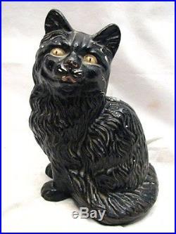 Vintage Cast Iron Hubley Cat Door Stop Painted Figurine Rare 7 in Size Kitten