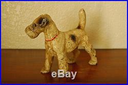 Vintage Cast Iron Hubley Standing Wire Fox Terrier Doorstop Bookend Figurine