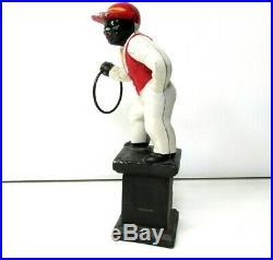 Vintage Cast Iron Jocko Black American Jockey Bookend Door Stop Statue