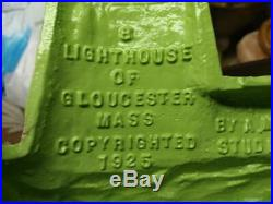 Vintage Cast Iron Metal Painted Lighthouse Doorstop Doorstop American Gloucester