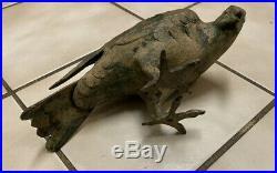 Vintage Cast Iron Pigeon Large Figurine Statue doorstop excellent cond