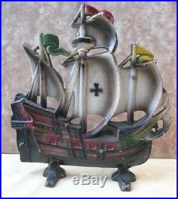 Vintage Cast Iron SHIP DOORSTOP, Painted Galleon, DAVISON, #325