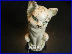 Vintage Cast Iron Sitting White Cat Door Stop Hubley 10 x 3.75 Very Good Cond