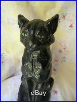 Vintage Cat Doorstop Cast Iron 9 Green Eyes National Foundry Black Cat