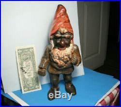 Vintage GNOME ELF figure Hubley Doorstop Cast Iron old Garden toy barn