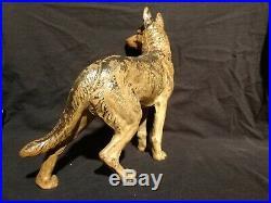 Vintage HUBLEY Cast Iron Left Facing Police Dog German Shepherd Door Stop