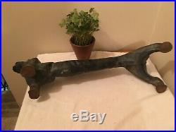 Vintage Heavy Cast Iron Dachshund Weiner Dog Door Stop / Boot Scraper 22 in long