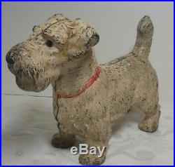 Vintage Heavy Cast Iron Sealyham Terrier Doorstop Original Paint Hubley c. 1930