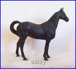 Vintage Hubley Black Cast Iron Horse Door Stop Excellent