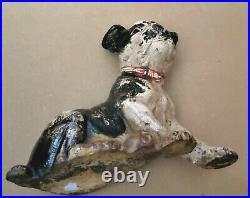 Vintage Hubley Cast Iron Boston Terrier Sitting Puppy Door Stop