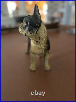 Vintage Hubley Cast Iron Bulldog Boston Terrier Doorstop With Patina