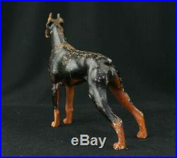 Vintage Hubley Cast Iron Doberman Pinscher Dog Sculpture Doorstop No. 306 Rare