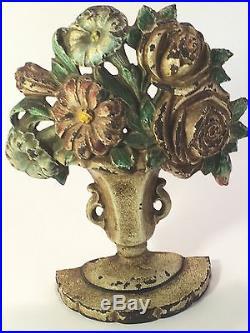 Vintage Hubley Cast Iron Flower Basket #162 Doorstop ROSES & PETUNIAS VASE