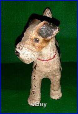 Vintage Hubley Cast Iron Fox Terrier Dog with Red Collar Doorstop