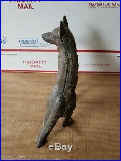 Vintage Hubley Cast Iron Left Facing German Shepherd Door Stop Dog