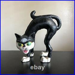 Vintage Hubley Halloween Archie Black Cat Cast Iron Door Stop Garden Sculpture