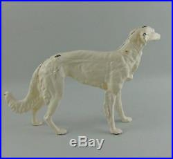 Vintage Hubley Painted Cast Iron Russian Wolfhound (Borzoi Dog) Statue Doorstop