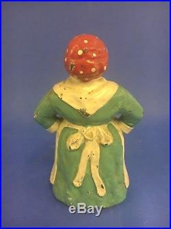 Vintage Hubley RARE GREEN 8-3/4 CAST IRON DOORSTOP- MAMMY