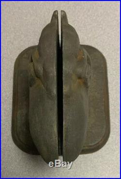 Vintage Kansas University KU Jayhawk Bookends Paperweights Doorstops Cast Iron