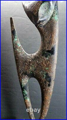 Vintage MCM Modernist Cast Iron Brutalist Cat Sculpture or Doorstop 11