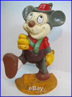 Vintage MICKEY MOUSE Cast Iron DoorStop German Outfit with Axe ornate detailing