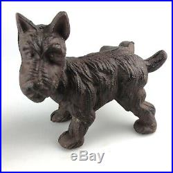 Vintage Old Cast Iron Yorkshire Terrier Dog Door Stop Weathered