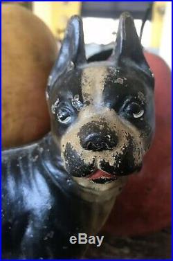 Vintage Original Antique Cast Iron Hubley Bulldog Boston Terrier Dog Doorstop