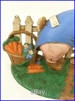 Vintage Peter Rabbit In Mcgregor's Garden Cast Iron Doorstop Blue Sweater