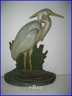 Vintage Rare Painted Cast Iron Stork Egret Heron Cat Tails Door Stop