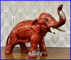 Vintage Red Cast Iron Elephant Doorstop 8 1/2 Long Trunk Up For Luck! Hubley