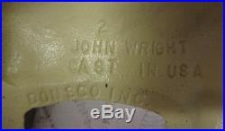 Vintage Signed John Wright Cast Iron Flower Bouquet Basket Doorstop Door Stop
