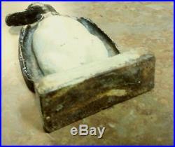 Vintage antique cast iron door stop Standing Penguin, Black and off White