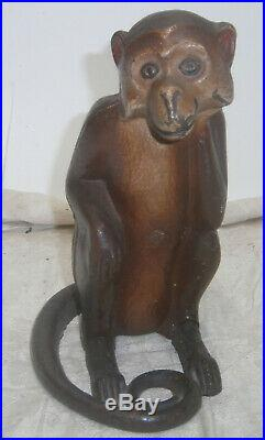 Vintage hubley cast iron Monkey w. Wrapped tail doorstop 1930's brown nice paint