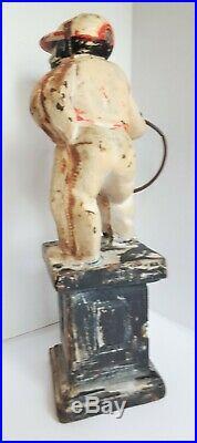Vtg JOCKO Black Americana Door Stop Book End Garden Porch Figure Cast Iron 10