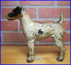 WIRE FOX TERRIER Antique Cast Iron Figural Dog Doorstop Decorative Art Statue