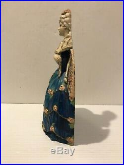 Waverly Studio Cast Iron Victorian Lady Doorstop Figure Antique FRENCH WOMAN FAN