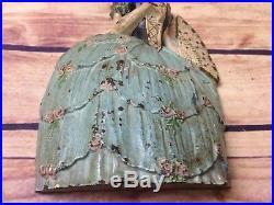 Waverly Studios Cast Iron Victorian Lady Doorstop Figure Antique Book Example