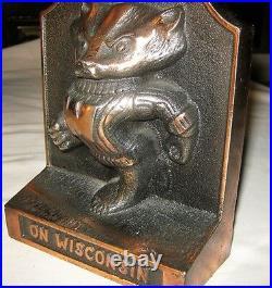 Wisconsin USA Football Badger Cast Iron Art Statue Sculpture Doorstop Bookend #2