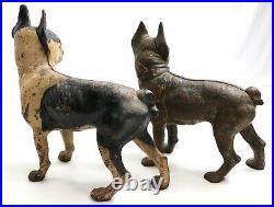 X2 Antique Hubley Cast Iron Boston Terrier Dog Doorstop Lot