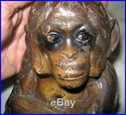 XXX Rare! Antique USA Cast Iron Monkey Art Statue Sculpture Hubley Doorstop Us