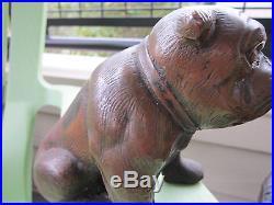Xrare Antique Hubley Bronzed Cast Iron English Bulldog Home Art Statue Doorstop